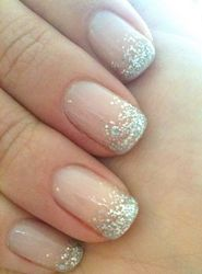 silver glitter tips new years eve nail art, I COULD do this... plus it's not a perfect straight line;)