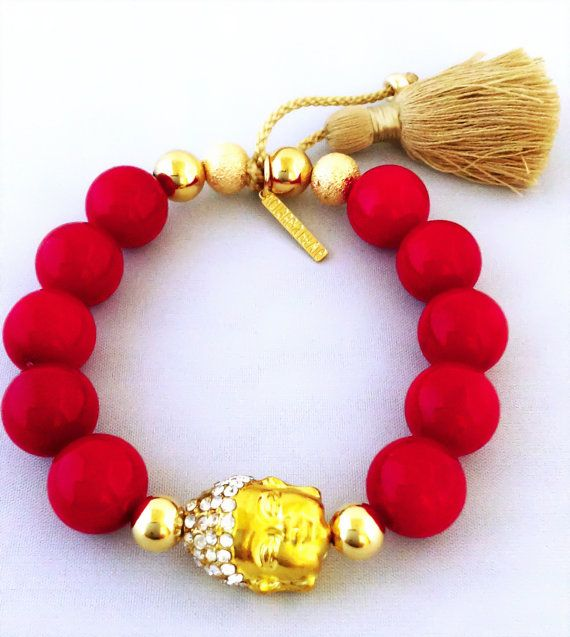 Buddha bracelet Red bracelet Red coral by AcuarelaAccessories, $42.00