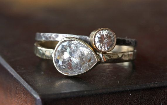 Silver White Pear Cut Diamond Ring