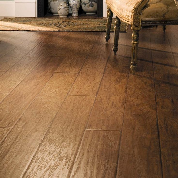 Shop allen + roth 6.14-in W x 4.52-ft L Saddle Handscraped Laminate Wood Planks at Lowes.com