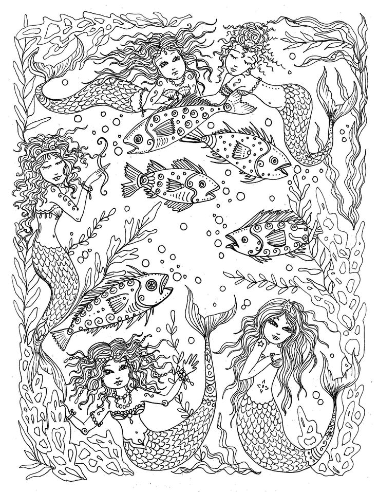 Mermaids Under The Sea Fantasy Art Adult Coloring Book You Be Artist