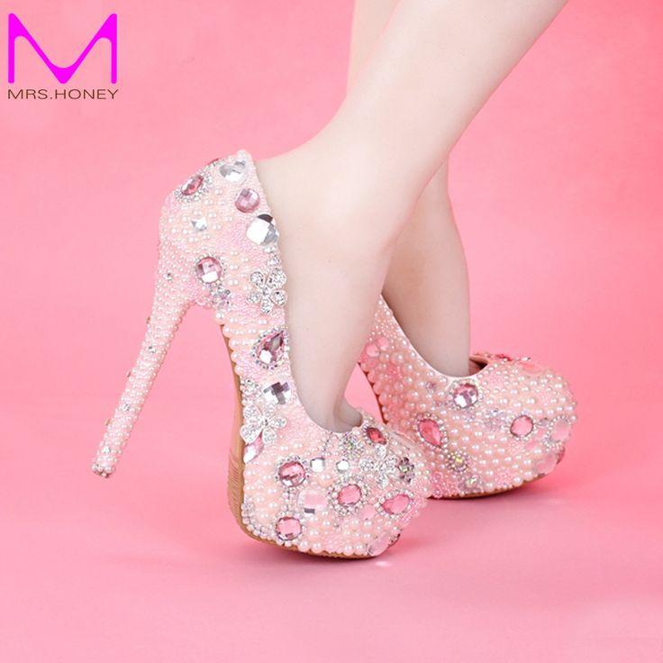 2016 neueste Design süße rosa Farbe Braut Hochzeit Schuhe Prinzessin Mädchen Geburtstag Partei High Heels Graduierung Ballkleid Kleid Schuhe //Price: $US $84.79 & FREE Shipping //     #abendkleider