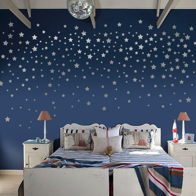 Silver Stars Removable Wall Stickers Wall Stickers Living Room Baby Room Diy Home