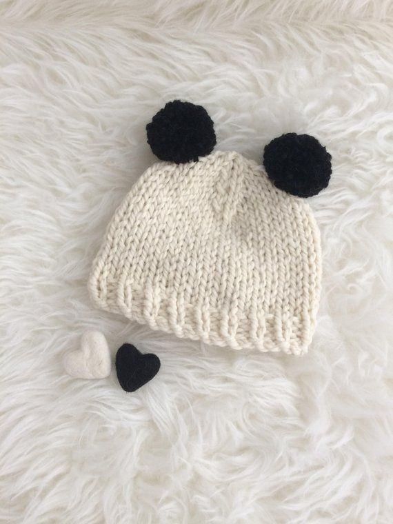 0604f661a22 Panda pom pom baby hat - newborn 0 to 3 to 6 months boy girl luxury ...