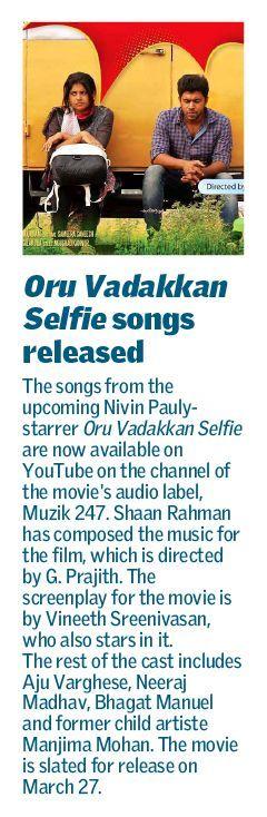 Today's Kochi edition of The Hindu - Metroplus carries the news regarding the release of 'Oru Vadakkan Selfie' songs by Muzik247.