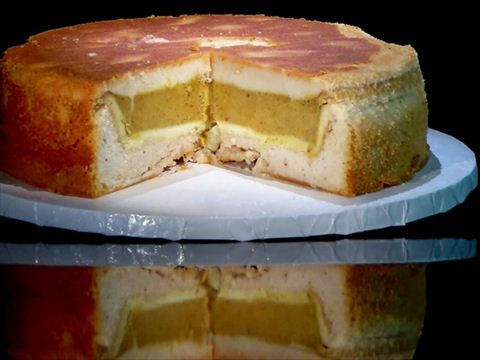 Meet the PumPecApple: three pies baked into three cakes, stacked and iced.