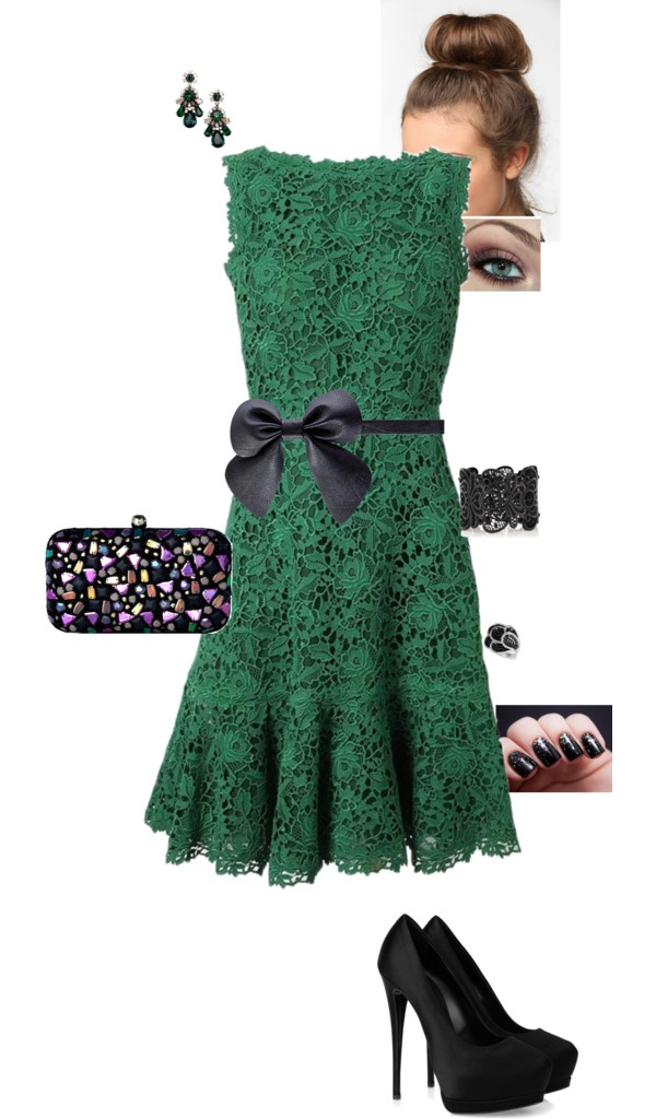 """""""Green Lace Dress"""" by erinlindsay83 on Polyvore   ...can someone just make it possible for this entire board to end up in my closet?!"""