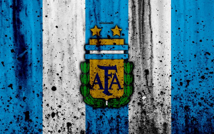 Download wallpapers Argentina national football team, 4k, emblem, grunge, South America, football, stone texture, soccer, Argentina, logo, South American national teams