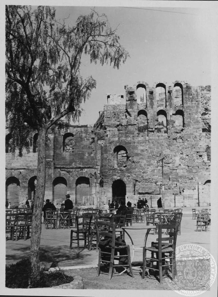 VINTAGE GREECE: A little cafe at the Herodeion Theatre, by the Acropolis, in 1934. (Photograph by Dorothy Burr Thompson)