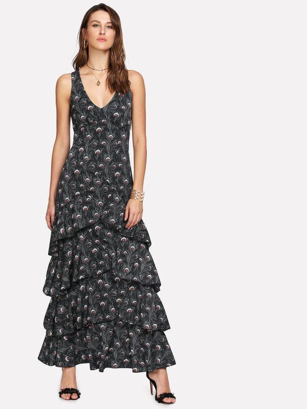 Shop X-Strap Back Layered Peacock Print Dress online. SheIn offers X-Strap Back Layered Peacock Print Dress & more to fit your fashionable needs.