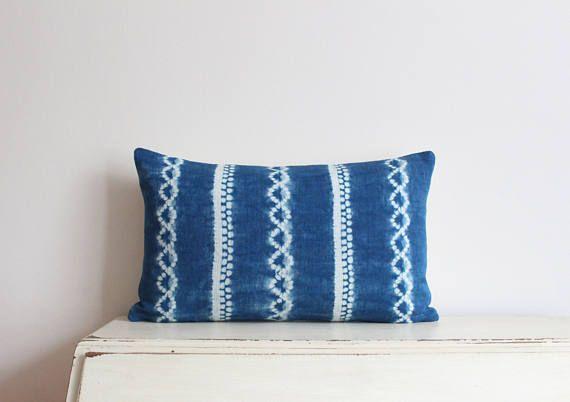 "SALE - Indigo Shibori pillow cushion cover 12"" x 20"""