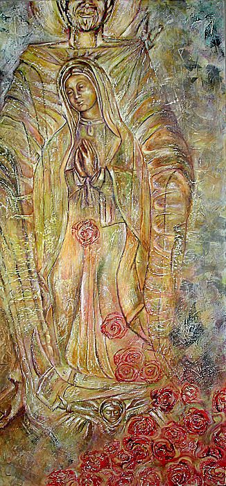 """""""Miracle of a virgin"""", Karina Llergo Salto, encaustic and oil on wood; Virgin of Guadalupe on Juan Diego's mantel with roses"""