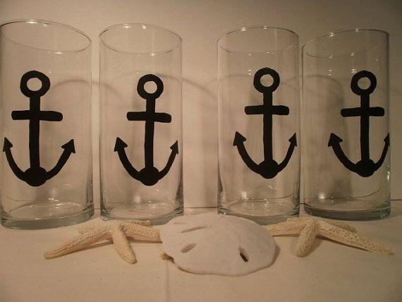 Nautical Wedding Vase Anchor Vinyl Vase Set of 10 by tiasdresses, $60.00