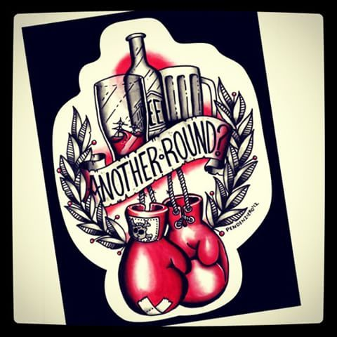 Painting for a tshirt project that never happened.  #traditionaltattooflash #boxing #gloves #boxeo #fight #drink #drank #drunk #anotherround #painting #traditional #tattoo #flash #oldschool