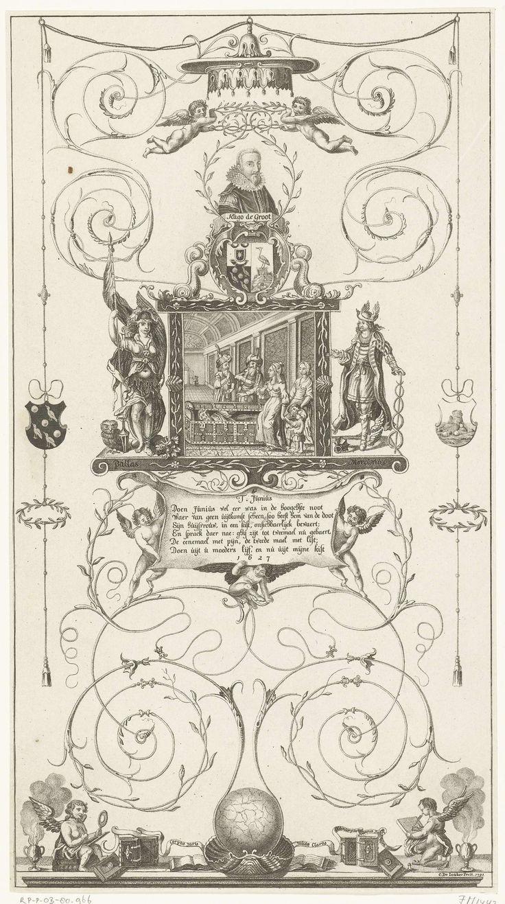 Cornelis de Jonker | Glasruit met scène uit het historie van Titus Junius, met buste van Hugo de Groot, 1627, Cornelis de Jonker, 1791 | Glasruit met scène uit het historie van Titus Junius, bekroond met een buste van Hugo de Groot, 1627. Titus Junius verschuilt zich in een kist. Aan weerszijden Pallas en Mercurius, verder versierd met ranken, wapens en putti. Onder de centrale scène een vers van 6 regels. Onderdeel van een serie van drie allegorische glasruiten ter herinnering aan de…