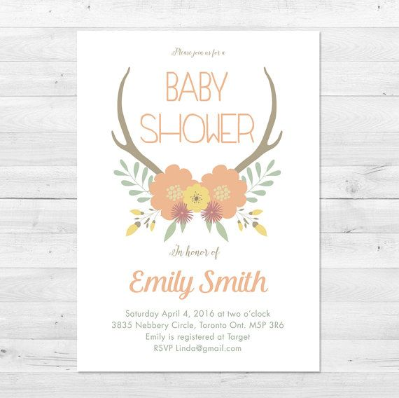 Baby Shower Invitation Girl Floral Baby Shower by vocatio on Etsy