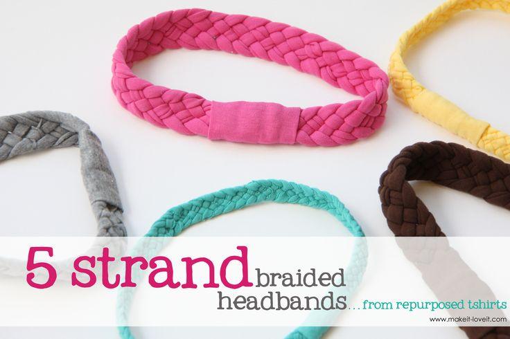 Re-purposing: Tshirts into 5-strand-braided-headbands---made it... super easy :)