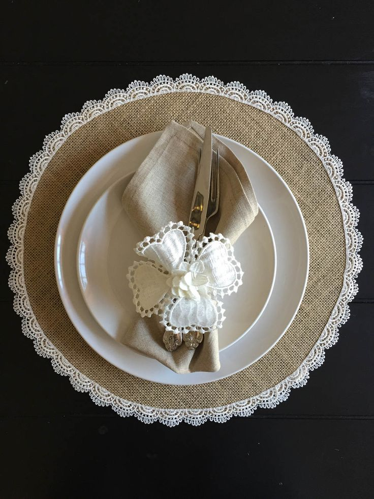 Round Burlap Placemats with Scallop Edge Lace   Beach  Wedding Table Decor    Custom Tablecloths   Rustic Chic Burlap Placemats   Farmhouse by MarsellaBoutique on Etsy https://www.etsy.com/listing/507820958/round-burlap-placemats-with-scallop-edge