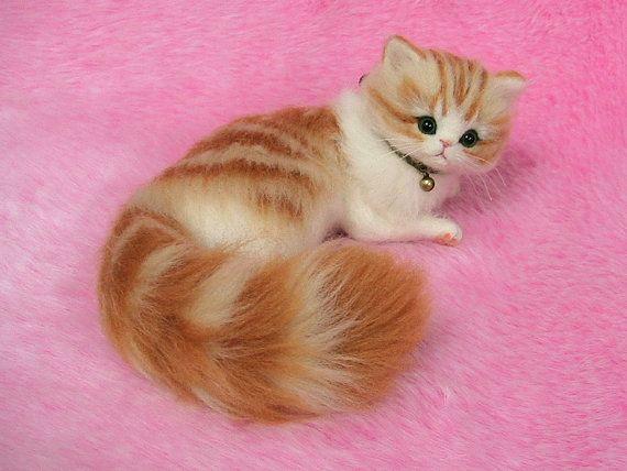 Needle Felted Cute Fluffy Kitten, Orange Tabby Miniature