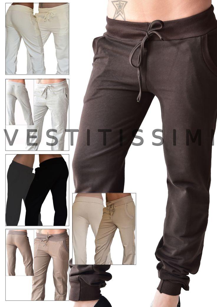 Pantaloni donna sportivi in vari colori con chiusura con lacci e tasche