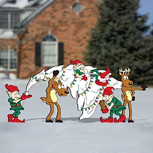 """Tree Delivery Pattern;  Our deer and elves return in this comical display on how not to move a Christmas tree. 37-1/2""""H x 84""""W.  Pattern# 2436  $13.95  ( crafting, crafts, woodcraft, pattern, woodworking, yard art ) Pattern by Sherwood Creations"""