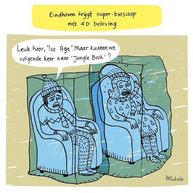 Nieuwe cartoon voor MEST Magazine online over een nieuwe bioscoop in Eindhoven. By Marjolein Schalk. New cartoon MEST about a new movie theatre with special 4D effects.