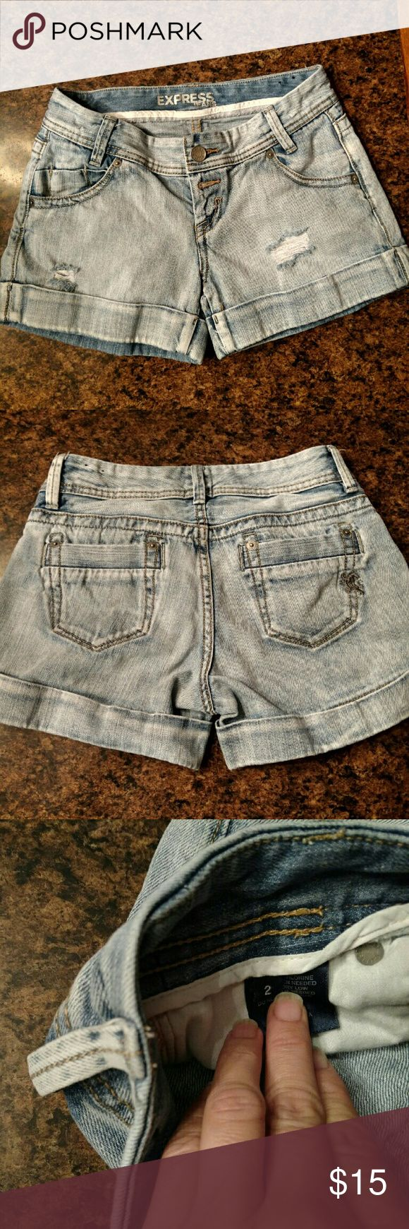 Express Jeans frayed shorts Like new, frays came on the shorts, fly button, size 2, 100% cotton, do comfy Express Jeans Shorts Jean Shorts