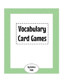 A collection of five vocabulary card game instructions. To play these games, you will need a set of vocabulary cards: for each vocab word, you need an image card and a foreign language card. See my store for card sets for the first three chapters in the Spanish textbook Asi se Dice by McGraw Hill.