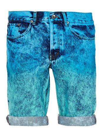 Green and Blue Dip Dye Shorts - Men's Shorts  - Clothing