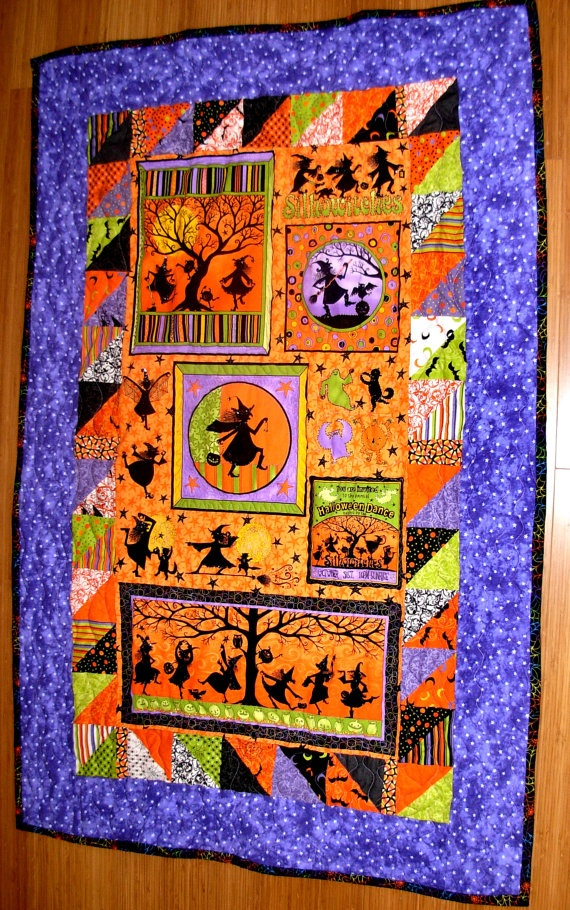 Beaded Witches Halloween Quilt