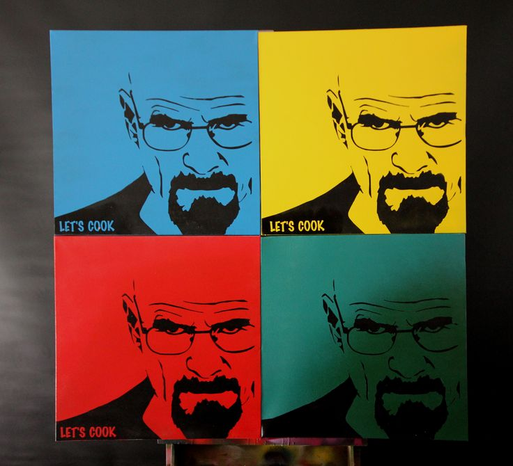 "Walter White -  Breaking Bad ""Lets Cook"" - $175.00 plus postage. Four colour choices as shown. (500mm x 500mm x 32mm hand painted, ready to hang canvas) For orders please email: kilproductions@bigpond.com (Australia Wide postage)"