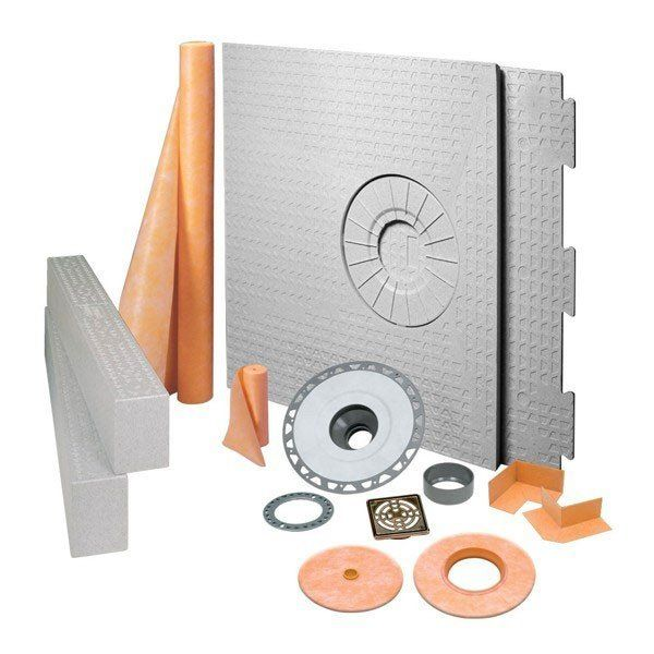Schluter Kerdi Shower Kit  Off Center Drain Tray Oil Rubbed Bronze Steel - Pvc Flange 32 X 60