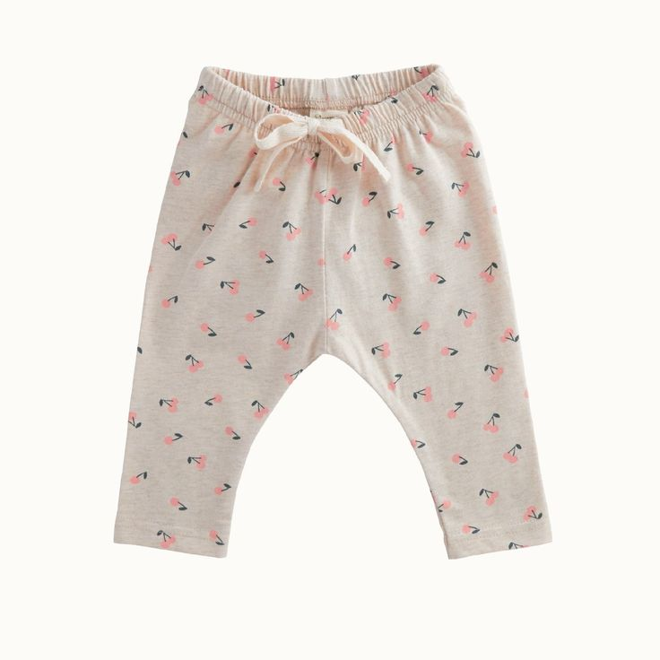 Organic Stretch Jersey Cotton Sunday Pants in Cherry Print