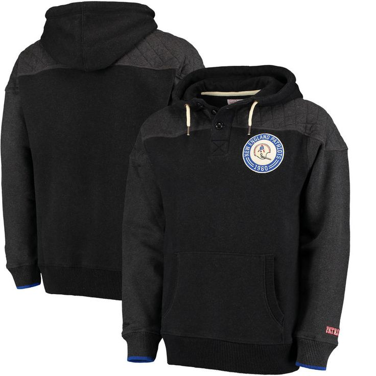 New England Patriots Mitchell & Ness Play By Play Pullover Hoodie - Black