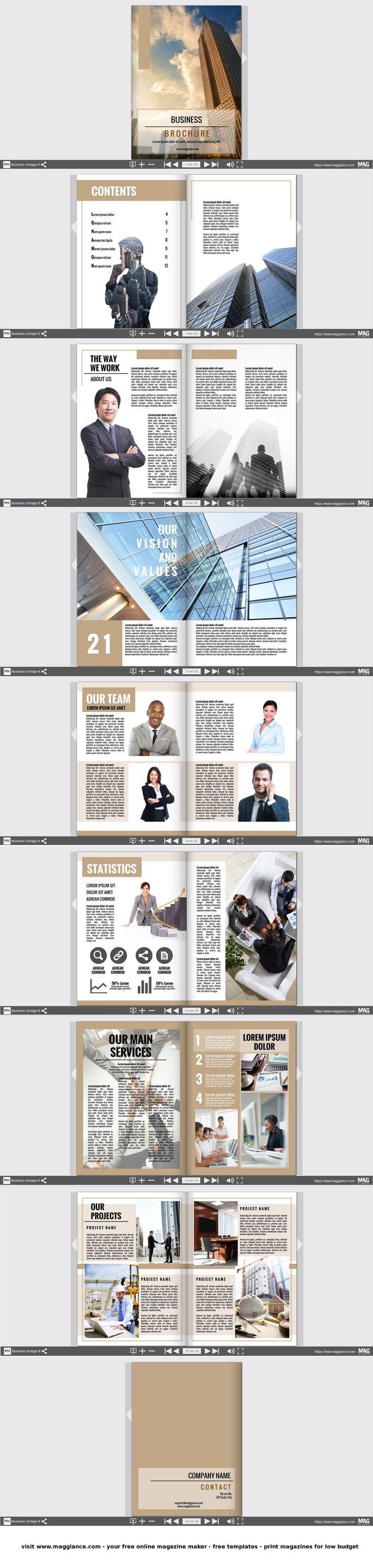 Business Broschüre kostenlos online erstellen und günstig drucken unter de.magglance.com #Broschüre #Firmenzeitung #Vorlage #Design #Muster #Beispiel #Template #Firmenzeitung #Layout #Erstellen #Gestalten #Cover