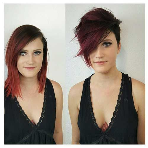 26-Short Hairstyle with Long Bangs