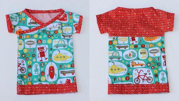 baby kimono tshirt free pattern (0-3 months)