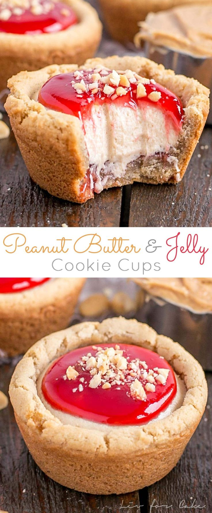 Peanut Butter & Jelly Cookie Cups! Take a lunchbox classic to the next level with these surprisingly easy Peanut Butter & Jelly Cookie Cups!   livforcake.com