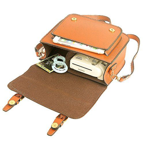 Fujifilm mini 8 camera accessories case - Lalonovo Retro Vintage Pu Leather Fujifilm Instax Mini 8/ Mini 7s/ Mini 25/ Mini 50s case - Fujifilm Instant Camera Bag Blue with Shoulder Strap (Brown)