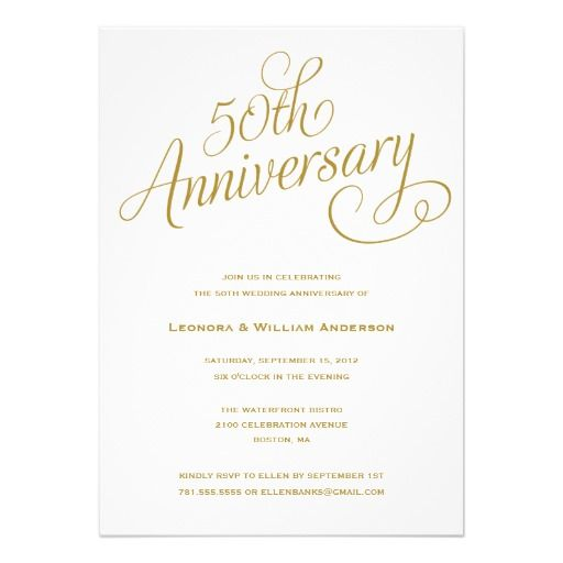 50th wedding anniversary invitation  –  A simple elegant white 50th wedding anniversary invitation. Personalize this anniversary party invitation to make it perfect for you! OR