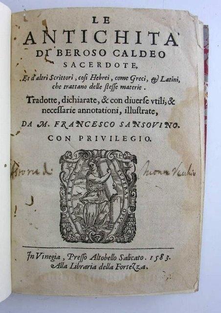 Beroso. El Sacerdote Caldeo. Una Historia de Babilonia.