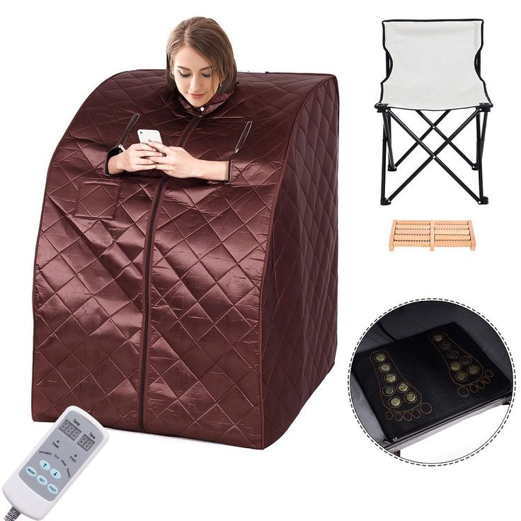 Costway Portable Far Infrared Sauna Spa Full Body Slimming Loss Weight Detox Therapy, Brown
