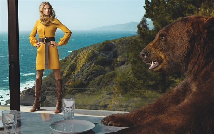 Download wallpapers Cara Delevingne, British top model, yellow dress, photoshoot with bear, beautiful woman