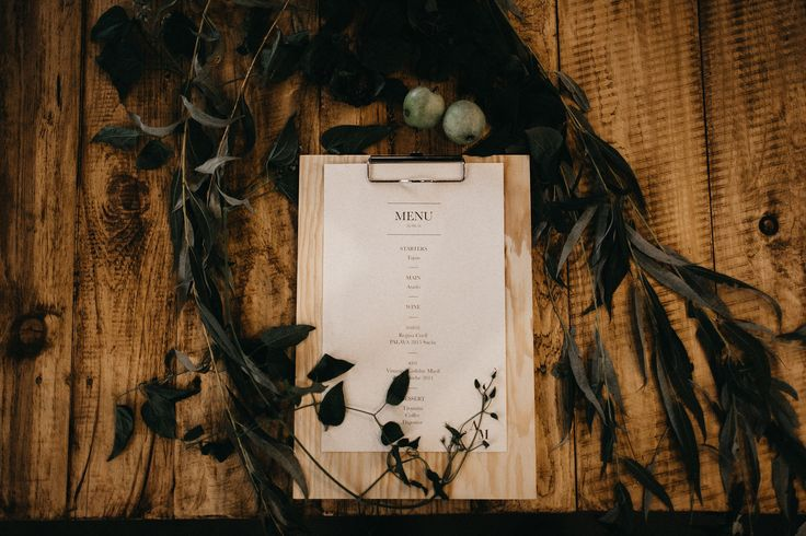 Industrial wedding Prague - menu design, foto / Couple of Prague