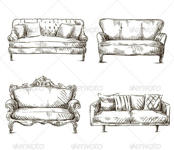 Set Of Sofas Drawings Sketch Style Man Made Objects Objects
