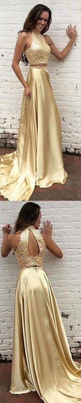 2 piece Prom Dresses, Long Prom Dresses, 2 Piece Prom Gown,Two Piece Prom Dresses,Prom Dresses,New Style Prom Gown,2017 Prom Dress,Prom Gowns