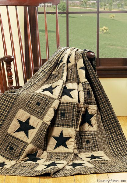 Vintage Star Black Quilted Throw. No pattern ..simple, I have a star