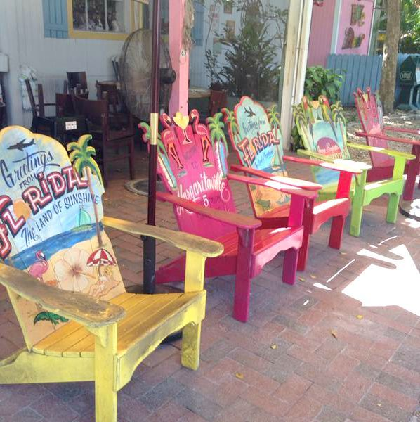 Painted Adirondack chairs in front of the Island Cow Restaurant, Sanibel. Via Sally Dowling on Twitter:  https://twitter.com/sallydowling