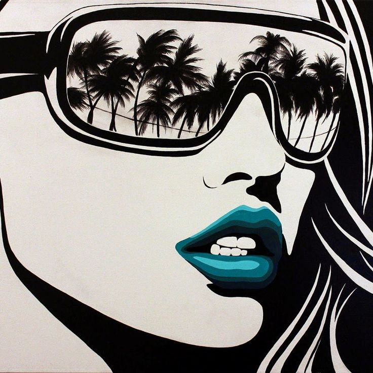 Palm Trees Reflection and Blue Lips Pop Art - by Shane Turner