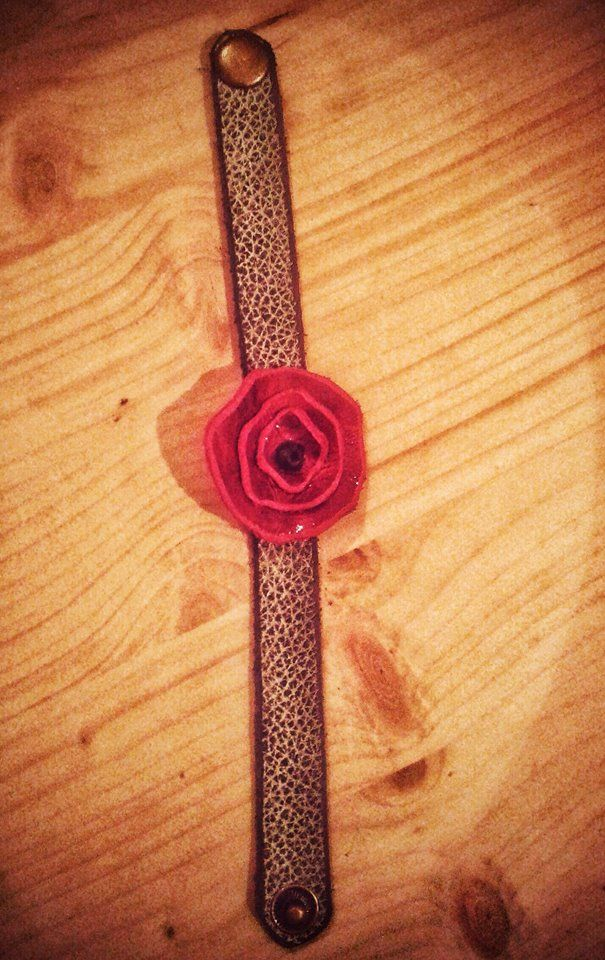 leather poppy bracelet